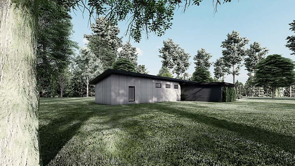 Contemporary, Modern House Plan 82597 with 3 Beds, 2 Baths, 2 Car Garage Rear Elevation
