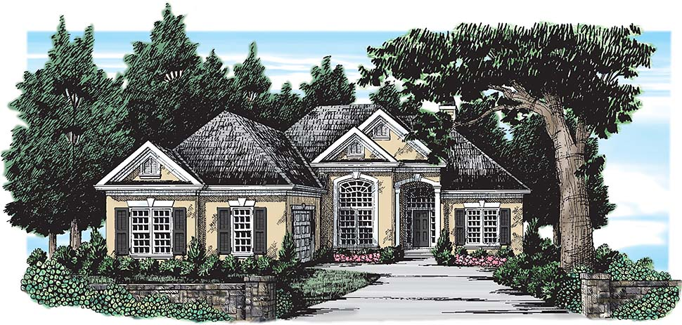 European, Traditional House Plan 83003 with 3 Beds, 4 Baths, 2 Car Garage Picture 1