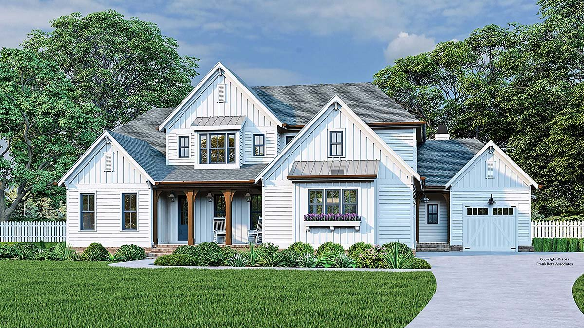 Cottage, Country, Farmhouse, Traditional House Plan 83137 with 4 Beds, 4 Baths, 3 Car Garage Elevation