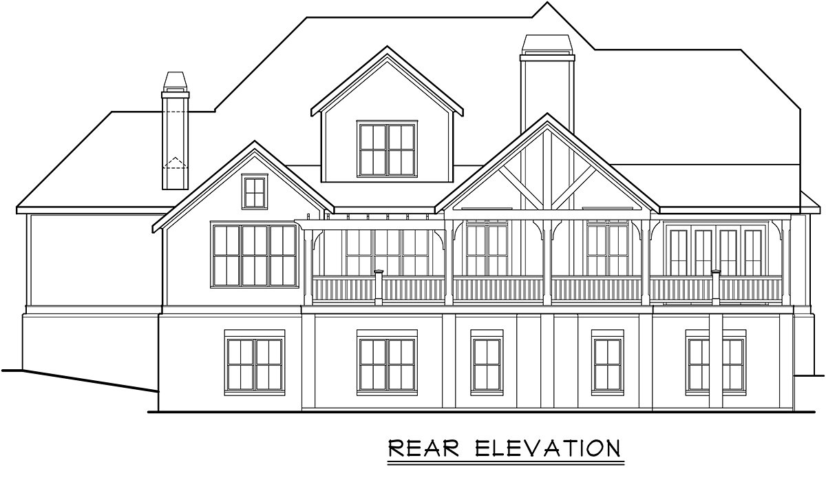 Cottage, Country, Farmhouse, Traditional House Plan 83137 with 4 Beds, 4 Baths, 3 Car Garage Rear Elevation