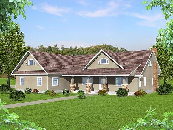 Craftsman, Ranch, Southern House Plan 85205 with 2 Beds, 3 Baths, 2 Car Garage Elevation