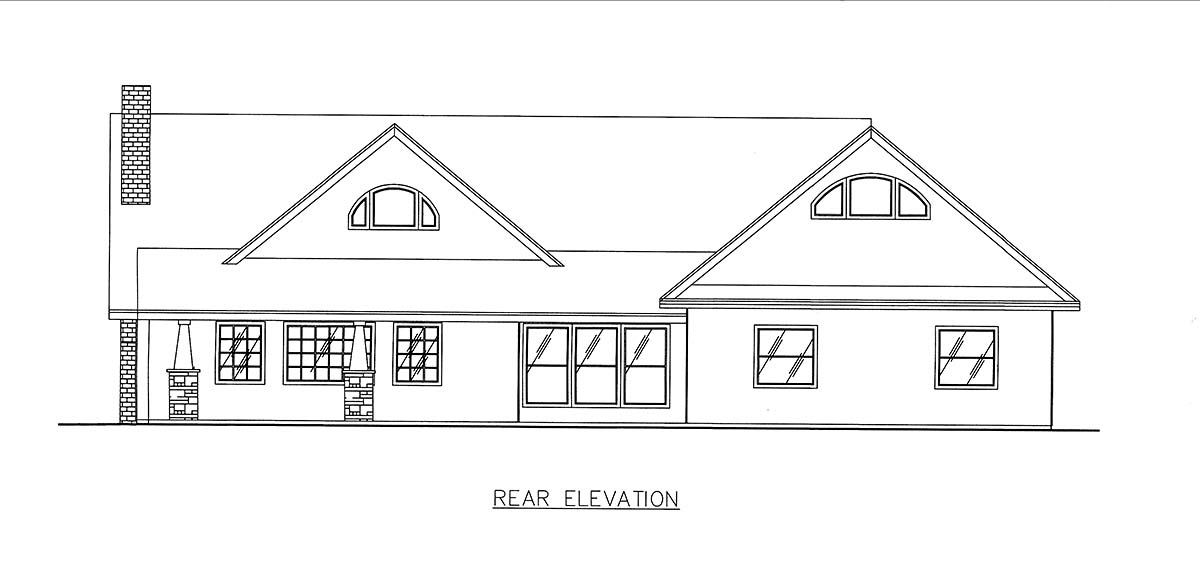 Craftsman, Ranch, Southern House Plan 85205 with 2 Beds, 3 Baths, 2 Car Garage Rear Elevation