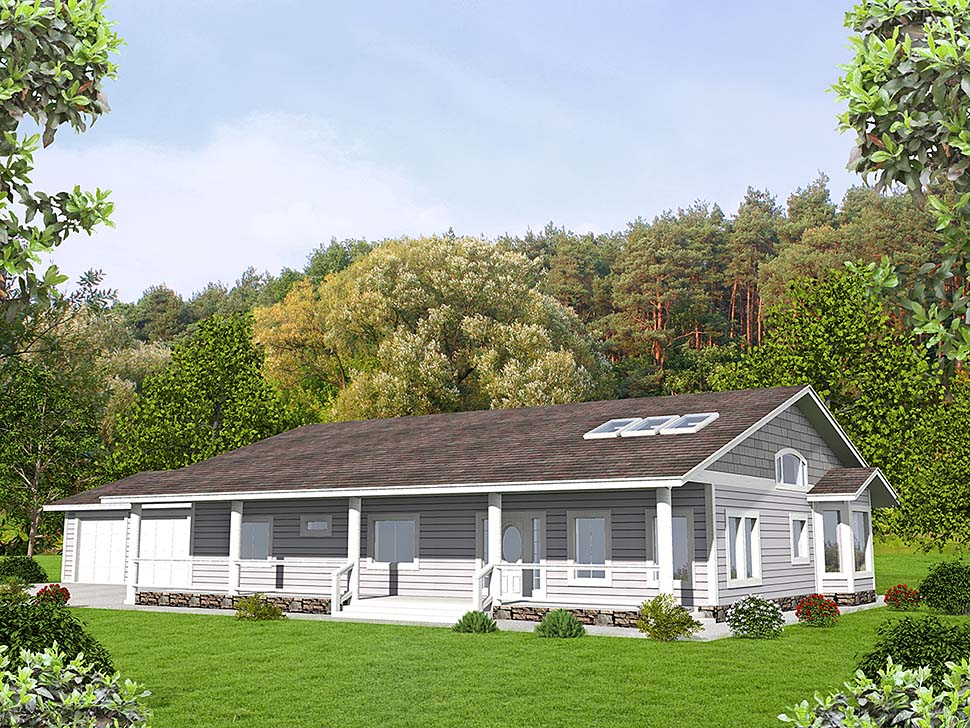 Ranch House Plan 85206 with 3 Beds, 2 Baths, 2 Car Garage Elevation