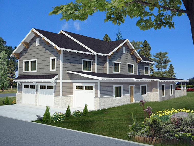 Bungalow, Country, Craftsman, Traditional House Plan 85238 with 6 Beds, 5 Baths, 3 Car Garage Rear Elevation