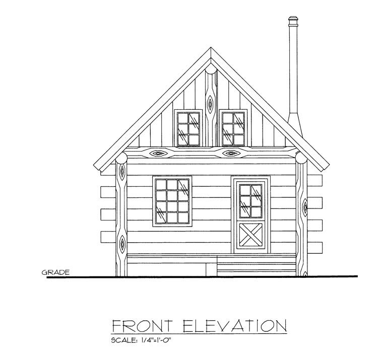 Cabin, Log House Plan 85877 Picture 1