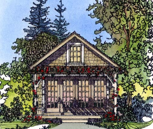 Cabin, Craftsman, Narrow Lot House Plan 86026 with 1 Beds, 1 Baths Elevation