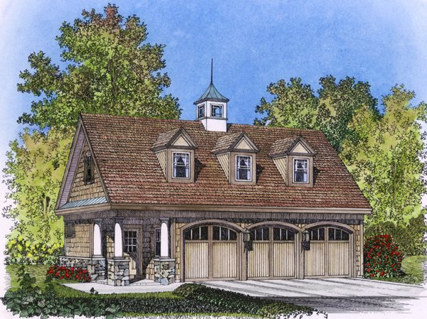 3 Car Garage Apartment Plan 86027 with 1 Beds, 1 Baths Elevation