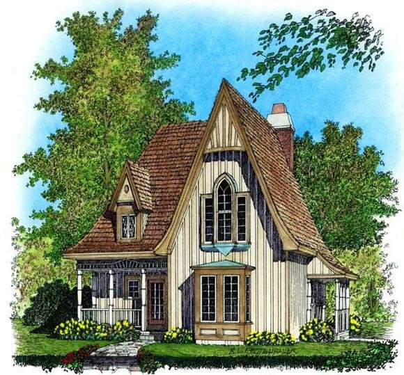 European, Narrow Lot House Plan 86045 with 2 Beds, 2 Baths Elevation
