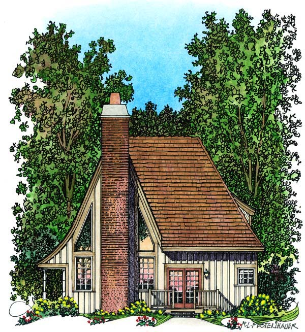 European, Narrow Lot House Plan 86045 with 2 Beds, 2 Baths Rear Elevation