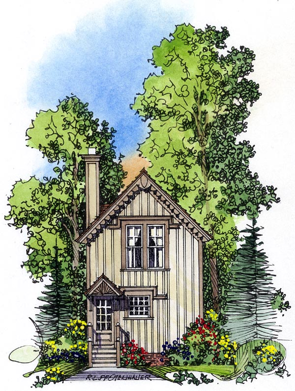 Country, Victorian House Plan 86049 with 2 Beds, 2 Baths Rear Elevation