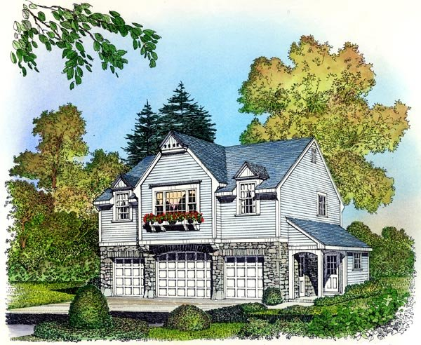 Cape Cod, Colonial, Country, Traditional 3 Car Garage Apartment Plan 86063 with 2 Beds, 1 Baths Elevation