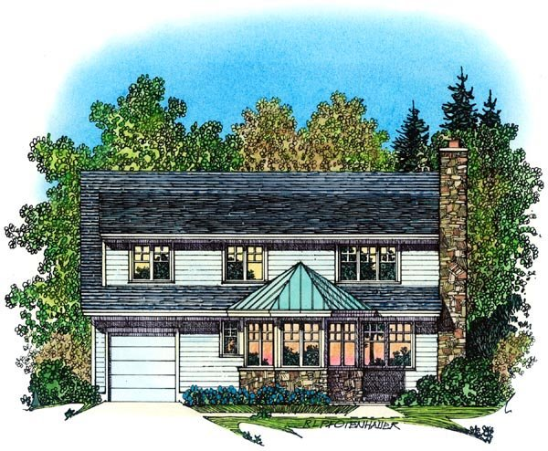 Cape Cod, Colonial, Country, Farmhouse House Plan 86071 with 3 Beds, 3 Baths, 3 Car Garage Rear Elevation