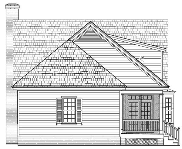 Cottage, Country, Farmhouse, Traditional House Plan 86105 with 3 Beds, 3 Baths, 2 Car Garage Rear Elevation