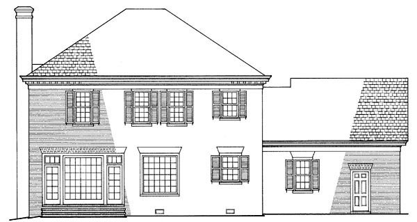 Colonial, Plantation, Southern House Plan 86120 with 3 Beds, 3 Baths, 2 Car Garage Rear Elevation