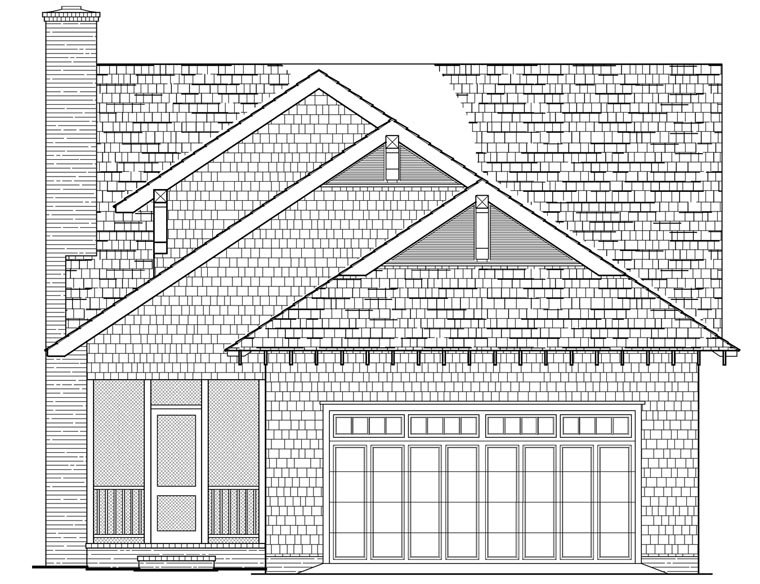 Bungalow, Cottage, Craftsman, Farmhouse House Plan 86121 with 4 Beds, 3 Baths, 2 Car Garage Rear Elevation