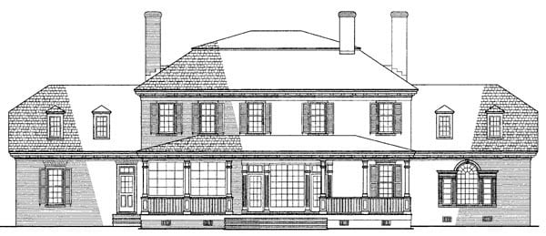 Colonial, Plantation, Southern House Plan 86126 with 4 Beds, 4 Baths, 2 Car Garage Rear Elevation
