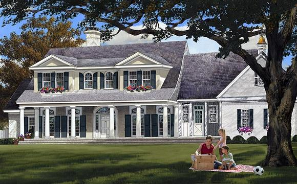 Colonial, Country, Plantation, Southern House Plan 86148 with 4 Beds, 3 Baths, 2 Car Garage Elevation