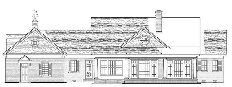 Colonial, Country, Plantation, Southern House Plan 86148 with 4 Beds, 3 Baths, 2 Car Garage Rear Elevation