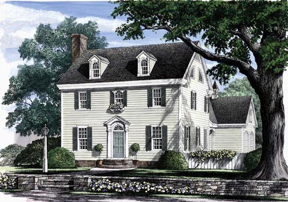 Colonial, Southern House Plan 86168 with 3 Beds, 3 Baths, 2 Car Garage Elevation