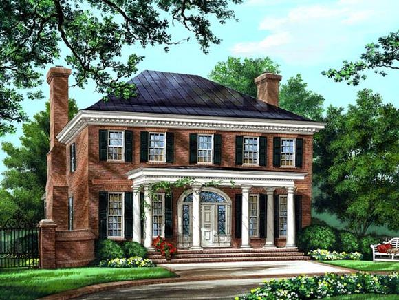 Colonial, Plantation, Southern House Plan 86225 with 4 Beds, 5 Baths, 2 Car Garage Elevation