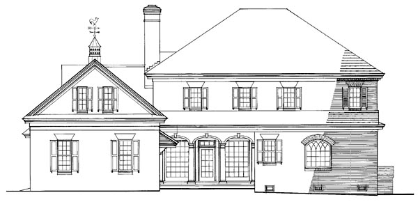 Colonial, Plantation, Southern House Plan 86242 with 4 Beds, 4 Baths, 2 Car Garage Rear Elevation