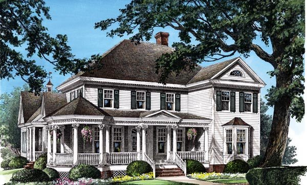 Colonial, Farmhouse, Southern, Victorian House Plan 86280 with 4 Beds, 4 Baths, 2 Car Garage Elevation
