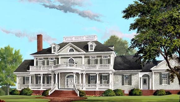 Plantation, Southern House Plan 86340 with 4 Beds, 6 Baths, 3 Car Garage Elevation