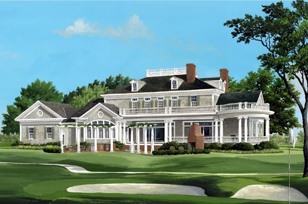 Plantation, Southern House Plan 86340 with 4 Beds, 6 Baths, 3 Car Garage Rear Elevation