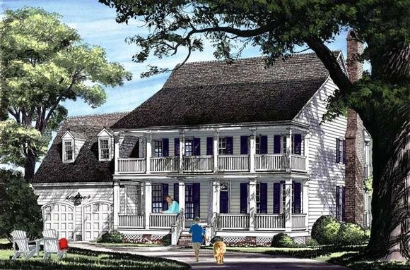 Colonial, Farmhouse, Southern House Plan 86342 with 4 Beds, 4 Baths, 2 Car Garage Elevation