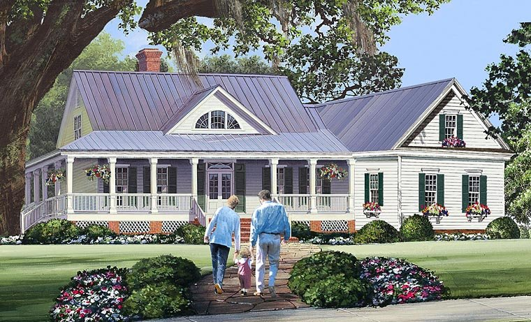 Country, Farmhouse, Southern House Plan 86344 with 3 Beds, 3 Baths, 2 Car Garage Elevation