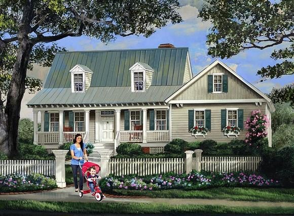 Cape Cod, Country, Southern House Plan 86345 with 3 Beds, 3 Baths, 2 Car Garage Elevation
