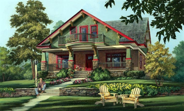 Bungalow, Cottage, Country, Craftsman House Plan 86346 with 5 Beds, 4 Baths, 2 Car Garage Elevation