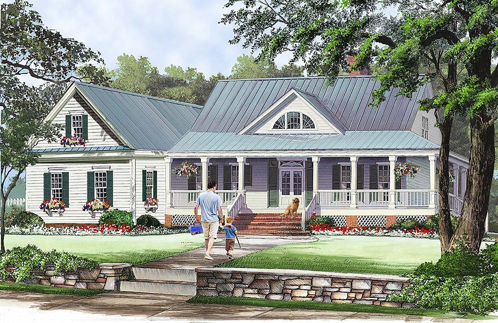 Cottage, Country, Farmhouse, Southern House Plan 86351 with 3 Beds, 3 Baths, 2 Car Garage Elevation