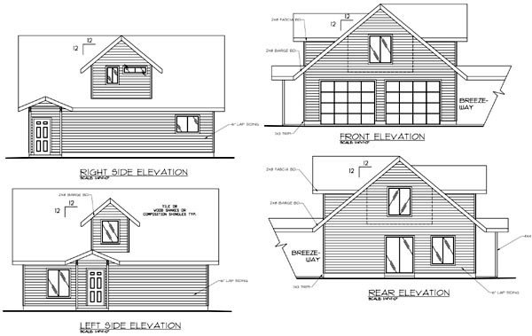 2 Car Garage Apartment Plan 86864 with 2 Beds, 2 Baths Rear Elevation