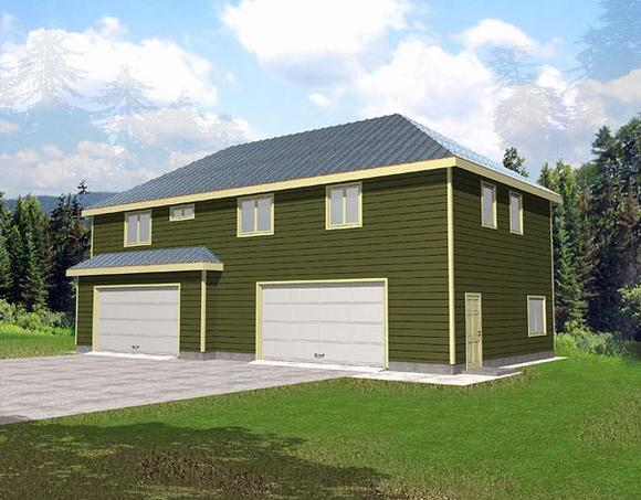 4 Car Garage Apartment Plan 86883 with 3 Beds, 2 Baths Elevation