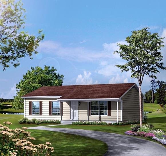 One-Story, Ranch House Plan 86925 with 3 Beds, 2 Baths Elevation