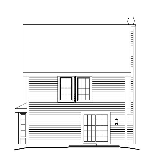 Cabin, Cape Cod, Cottage, Country House Plan 86973 with 3 Beds, 3 Baths Rear Elevation