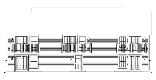 Cape Cod, Country, Ranch Multi-Family Plan 86977 with 5 Beds, 5 Baths Rear Elevation