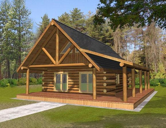 Log House Plan 87050 with 1 Beds, 1 Baths Elevation