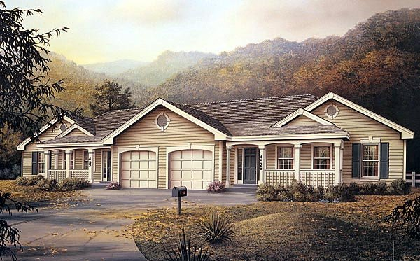 One-Story, Ranch Multi-Family Plan 87347 with 6 Beds, 4 Baths, 2 Car Garage Elevation