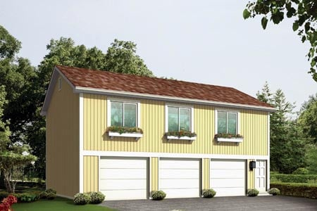 House Plan 87897 with 2 Beds, 1 Baths, 3 Car Garage Elevation