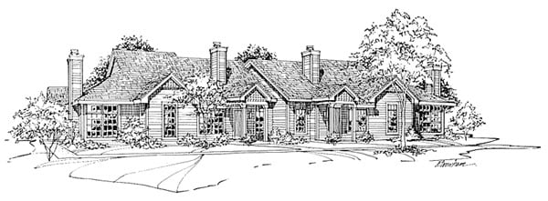 One-Story, Traditional Multi-Family Plan 88405 with 8 Beds, 6 Baths, 8 Car Garage Elevation