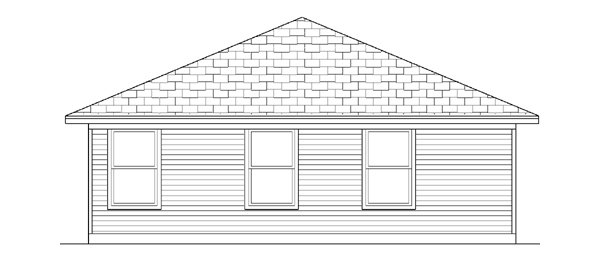 Traditional House Plan 88633 with 2 Beds, 2 Baths, 1 Car Garage Rear Elevation