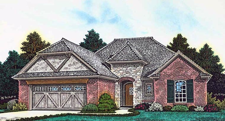 Country, French Country, Tudor House Plan 89404 with 3 Beds, 2 Baths, 2 Car Garage Elevation