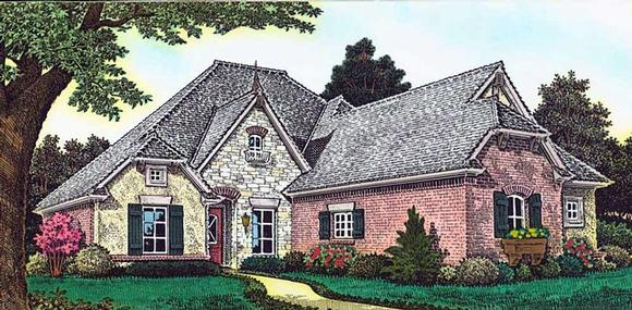 Country, French Country House Plan 89405 with 4 Beds, 4 Baths, 3 Car Garage Elevation