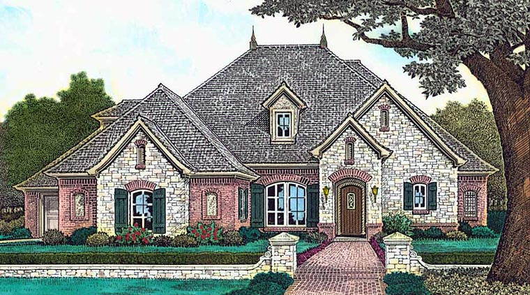 Country, European, French Country House Plan 89411 with 5 Beds, 5 Baths, 3 Car Garage Elevation