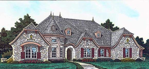 European, French Country House Plan 89414 with 4 Beds, 4 Baths, 4 Car Garage Elevation