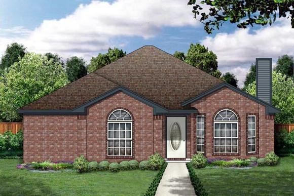 Narrow Lot, One-Story, Traditional House Plan 89883 with 3 Beds, 2 Baths, 2 Car Garage Elevation
