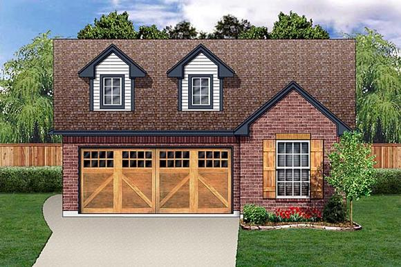 Narrow Lot, One-Story, Traditional House Plan 89885 with 4 Beds, 2 Baths, 2 Car Garage Elevation