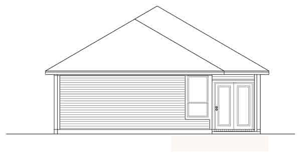 Narrow Lot, One-Story, Traditional House Plan 89885 with 4 Beds, 2 Baths, 2 Car Garage Rear Elevation